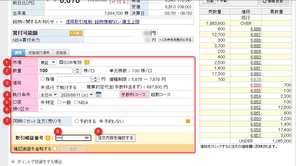 楽天証券の画面
